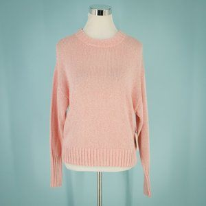 Something Navy XS Pink Crew Neck Sweater NWT Flaw